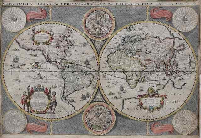 World Map by Hondius / Mariette  'Nova totius terrarum orbis geographica..'