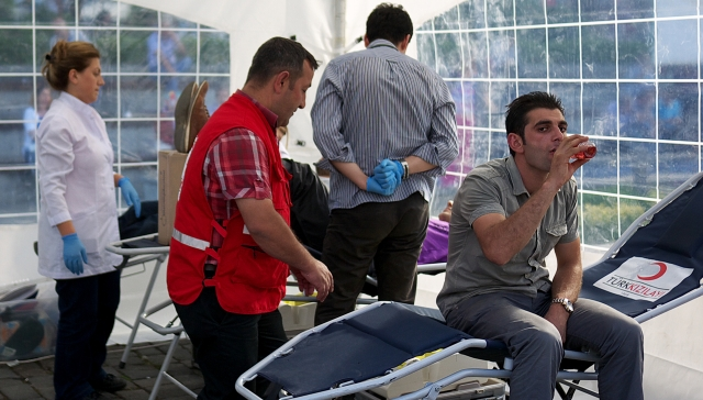 Red Crescent ..donating blood