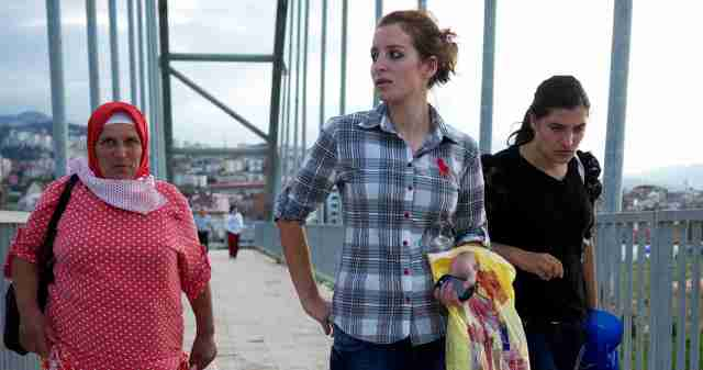 Women on Bridge from Trabzon to the sea