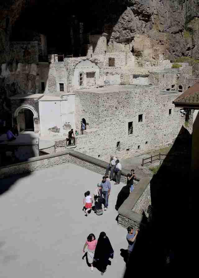 Sumela Chapel built into rock
