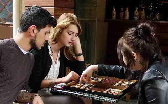 Women playing backgammon Kadikoy