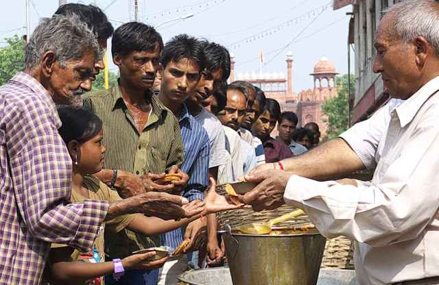 Food handout for lower caste