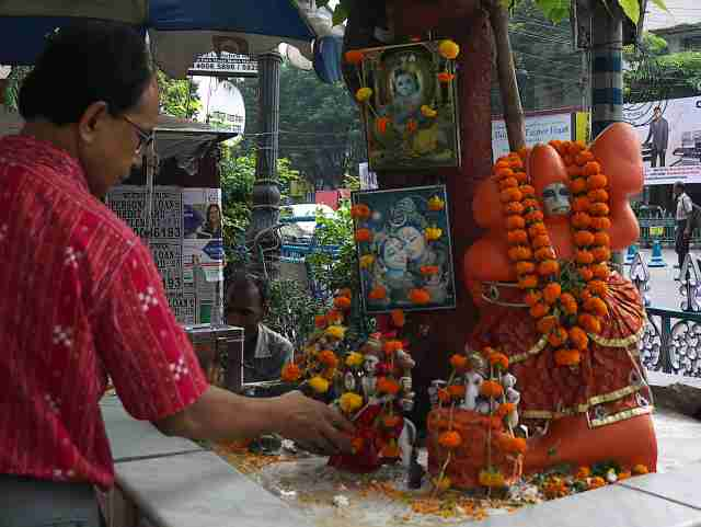 Shrine to Hanuman the monkey god..there are shrines just about every tree in Calcutta
